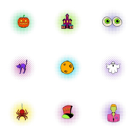 hallows: All hallows evening icons set, pop-art style