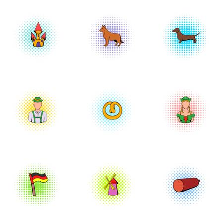 alcoholic beverage: Alcoholic beverage icons set, pop-art style Illustration
