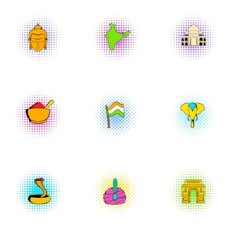 Stay in India icons set, pop-art style