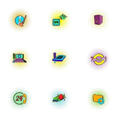 laptop repair: Hacker icons set, pop-art style Illustration