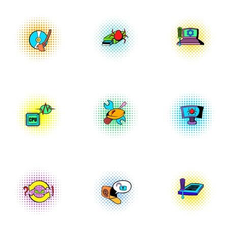 laptop repair: Hacking icons set, pop-art style
