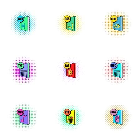 wav: Documents icons set, pop-art style