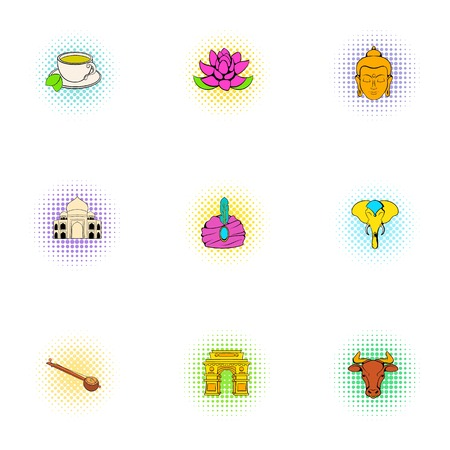 Tourism in India icons set, pop-art style