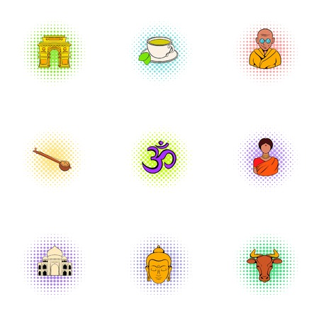 Country of India icons set. Pop-art illustration of 9 country of India vector icons for web