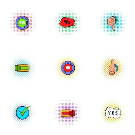 disagree: Choice icons set, pop-art style
