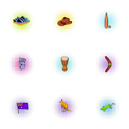 Australia icons set, pop-art style 版權商用圖片