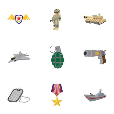 weapons: Weapons icons set, cartoon style Illustration