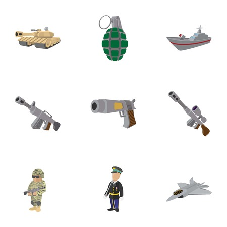Army weapons icons set, cartoon style