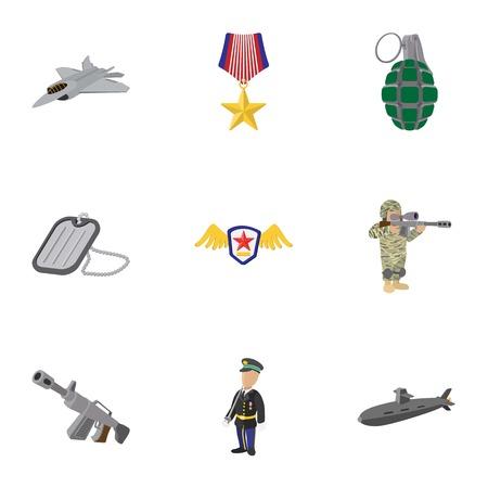 weaponry: Weaponry icons set, cartoon style Illustration