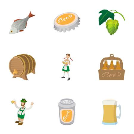 Holiday in Germany icons set, cartoon style