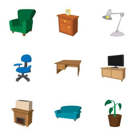 arredamento classico: Complementi arredo icons set, stile cartone animato
