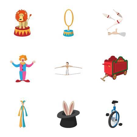 Chapiteau icons set, cartoon style Illustration
