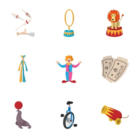 top gun: Circus performance icons set, cartoon style