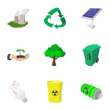 dumpster: Environment icons set, cartoon style