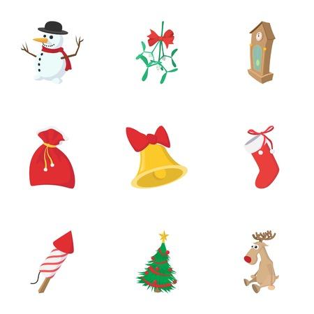 squib: Winter holiday icons set, cartoon style Illustration