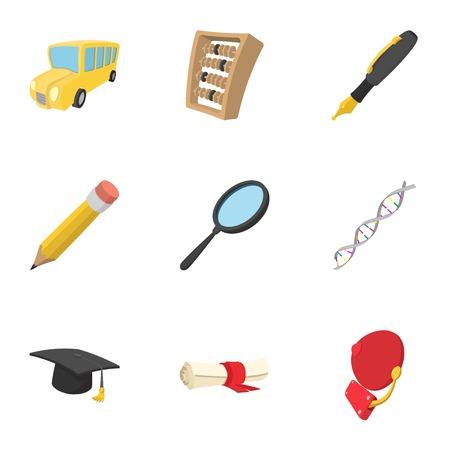 secondary: University icons set, cartoon style Illustration
