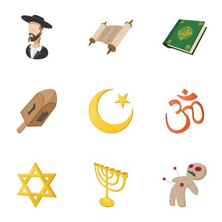 om sign: Religious faith icons set, cartoon style Illustration