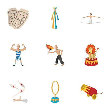 Concert in circus icons set, cartoon style