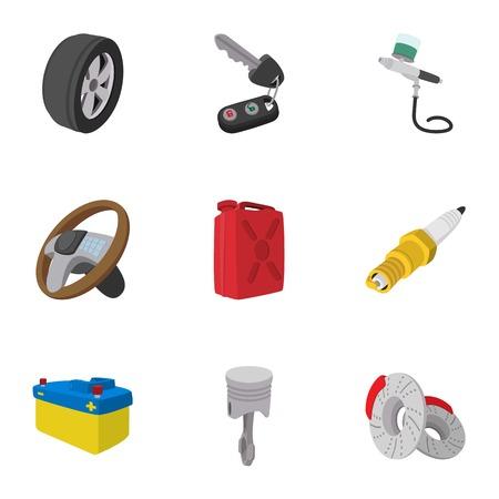 car brake: Car repairs icons set, cartoon style