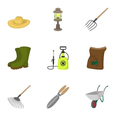 Gardening icons set, cartoon style