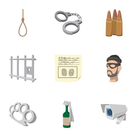 Crime icons set, cartoon style