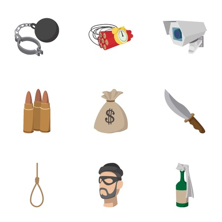 lawlessness: Lawlessness icons set, cartoon style