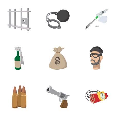 delito: iconos infracción prevista, estilo de dibujos animados