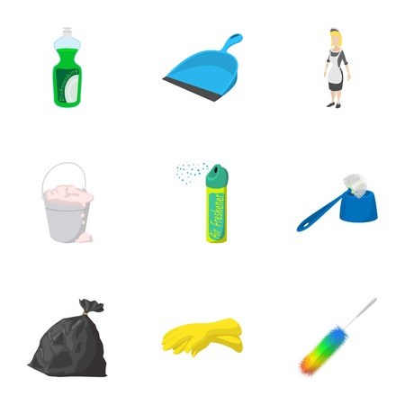 Sanitary day icons set, cartoon style Illustration