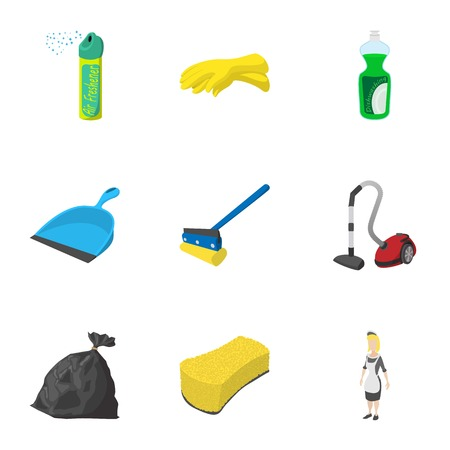 freshener: Cleansing icons set, cartoon style