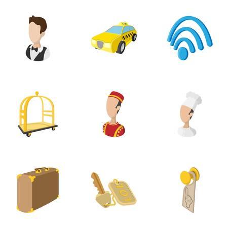 Hostel icons set, cartoon style Illustration