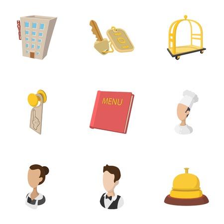 Hotel accommodation icons set, cartoon style Illustration