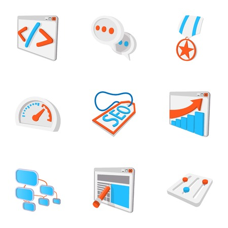 Optimization icons set, cartoon style