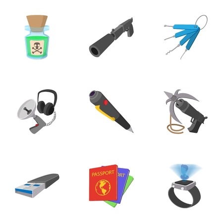 wiretapping: Scout icons set, cartoon style