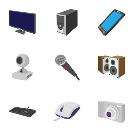 electronic devices: Electronic devices icons set, cartoon style