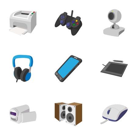 electronic gadget: Electronic gadget icons set, cartoon style