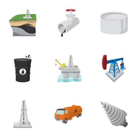 Oil production icons set, cartoon style Illustration