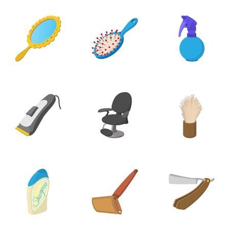 Barbershop icons set, cartoon style Illustration