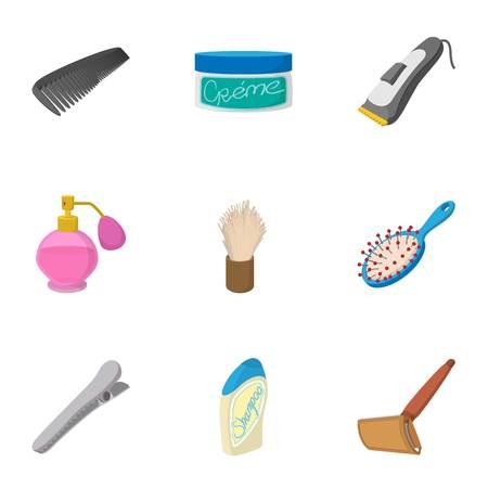 Hairstyle icons set, cartoon style