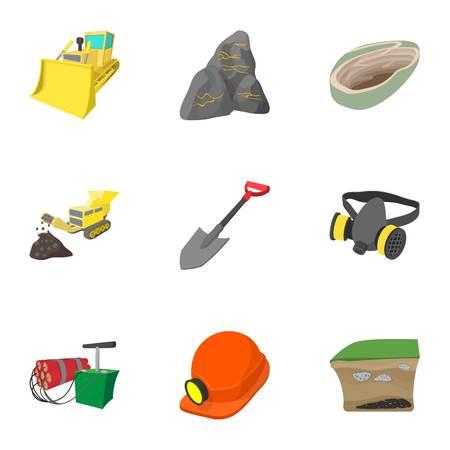 Mine icons set, cartoon style
