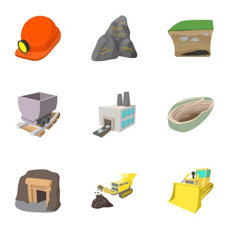 conveyor rail: Mining activities icons set, cartoon style