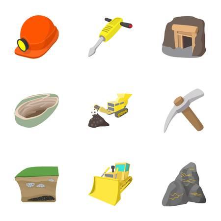 Colliery-Icons gesetzt, Cartoon-Stil