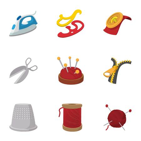 Embroidery kit icons set, cartoon style