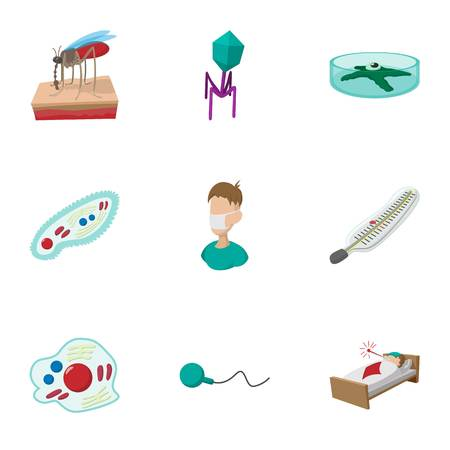 malaria: Malaria icons set, cartoon style