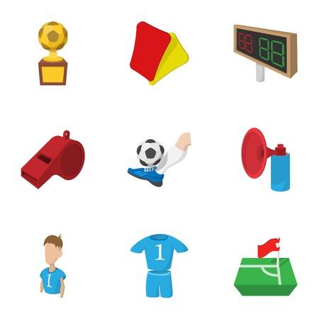 Sport football icons set, cartoon style