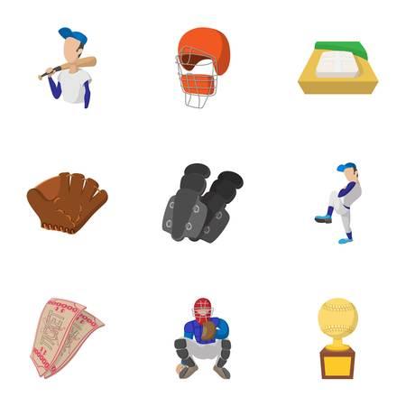 Baseball icons set, cartoon style Illustration