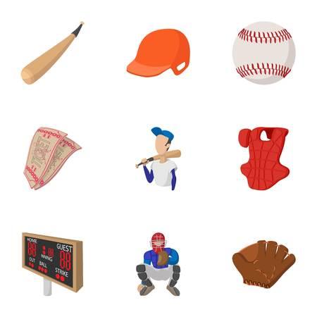 Game with bat icons set, cartoon style Illustration
