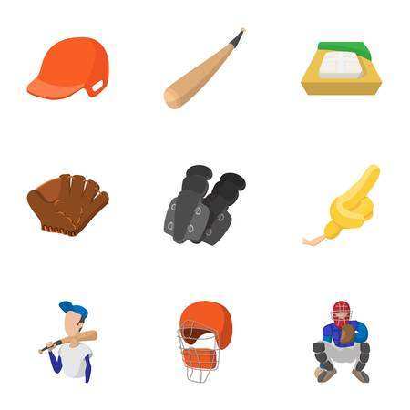 Sport with bat icons set, cartoon style Illustration
