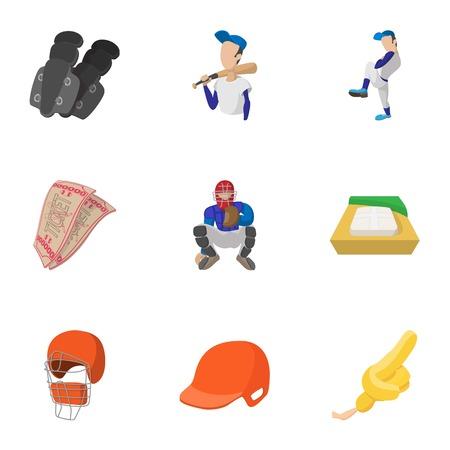 Championship with bat icons set, cartoon style Illustration