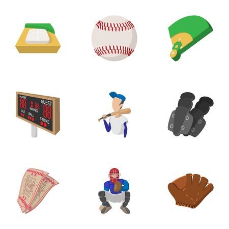 Baseball sport icons set, cartoon style