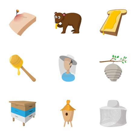 Honey icons set, cartoon style Illustration
